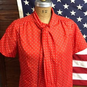 Tops - Vintage Red & White Polka Blouse